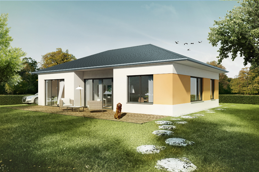 Wirth immobilien bungalowstil for Moderne bungalows mit viel glas